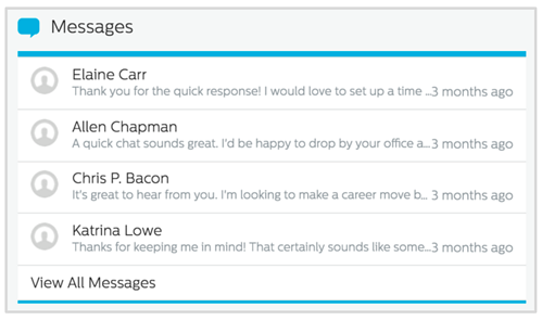 Messages in Recruiting.com Dashboard