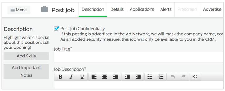 Post Job Confidentially