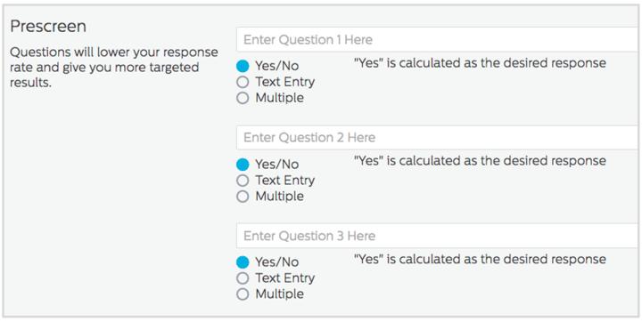 Prescreen Questions