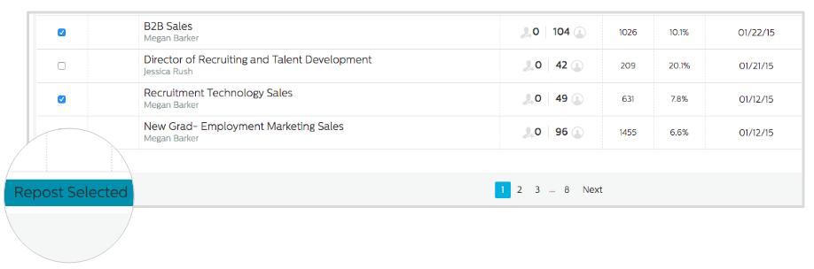 Repost Button in Recruiting.com CRM