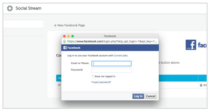 Facebook account login