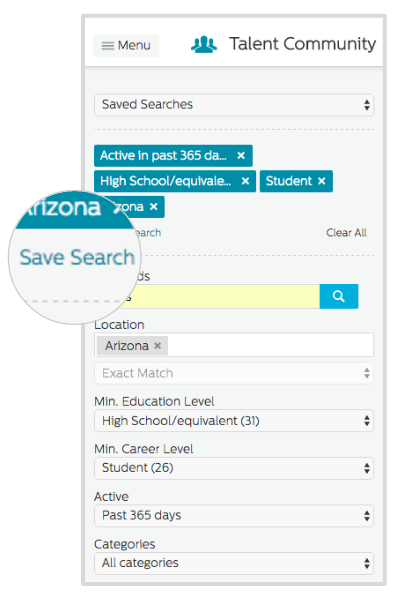 Save Search in the Recruiting.com CRM