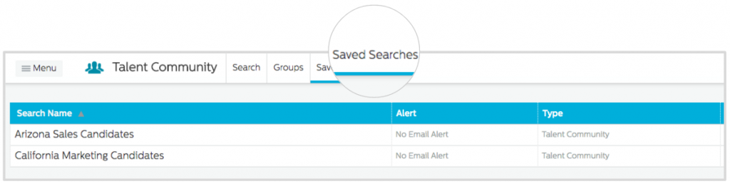 View Saved Searches in the Recruiting.com CRM