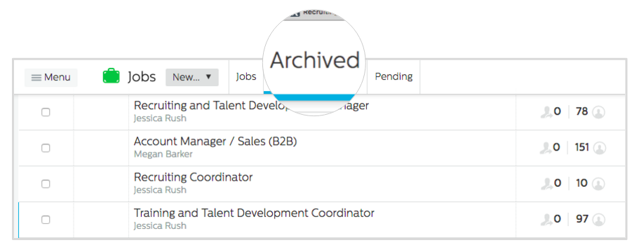 Recruiting.com CRM archived tab