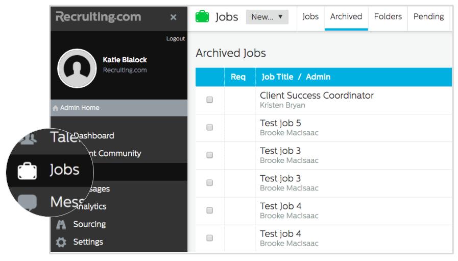 Jobs tab in Recruiting.com CRM