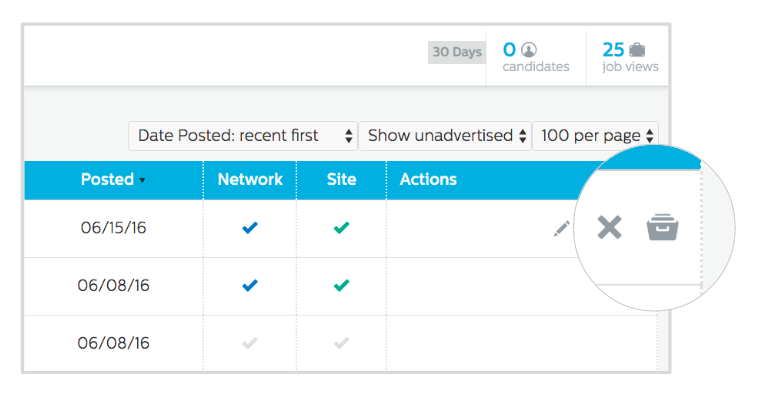 Recruiting.com CRM: Archive or remove jobs