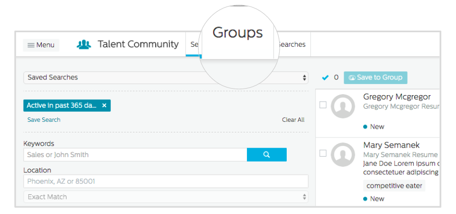 Groups tab in the Recruiting.com CRM