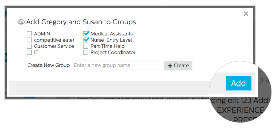 Add candidates to groups in Recruiting.com CRM