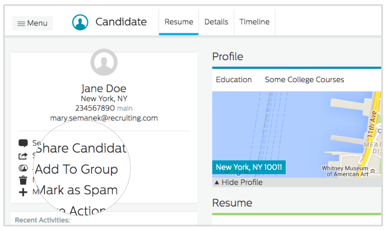 Candidate group button on Recruiting.com CRM