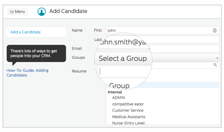 Select a group for Recruiting.com CRM candidate