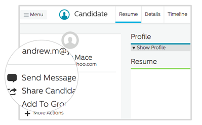 Send Message on Candidate Profile