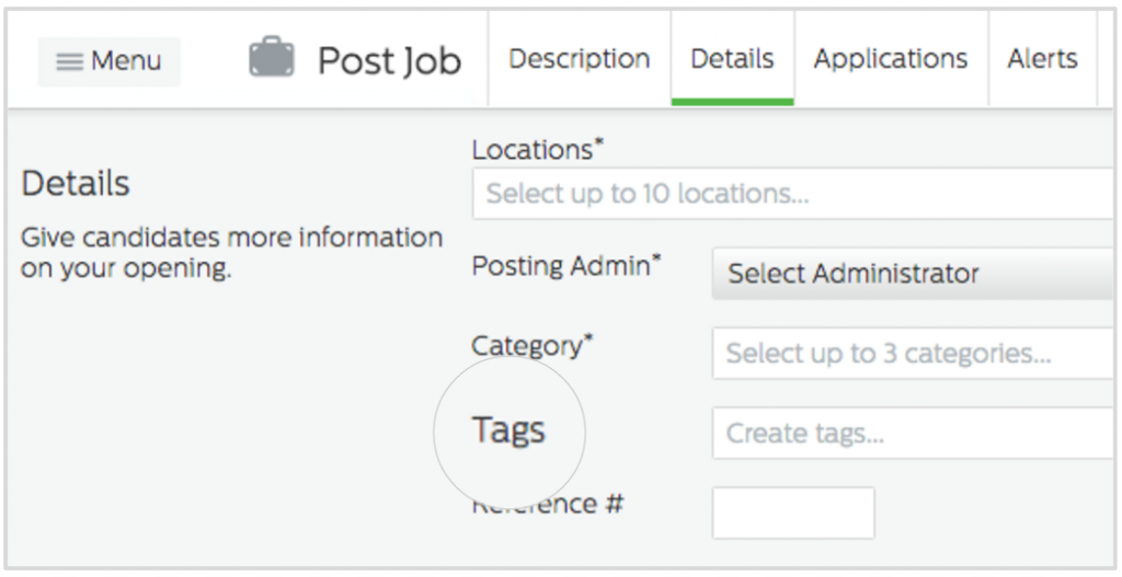 Tags in the Recruiting.com CRM